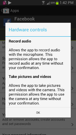 FaceBook Terms of Service on Android App - Record Audio and take Pictures